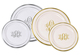 Elegant Monogrammed Premium Plastic Plates with Gold or Silver Edge Image 1 of 3