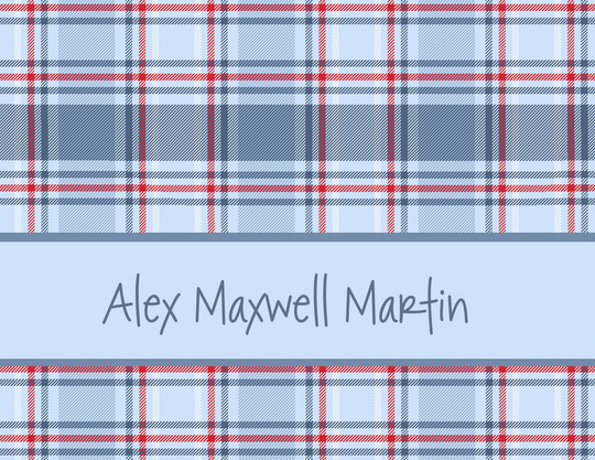 Blue Plaid Folded Note Cards