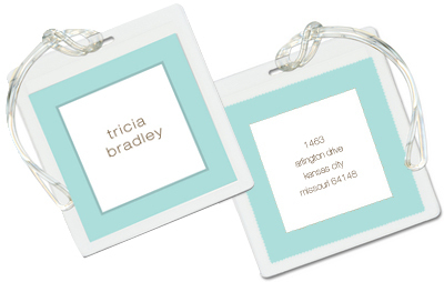 Blue Robin's Egg Border Luggage Tags