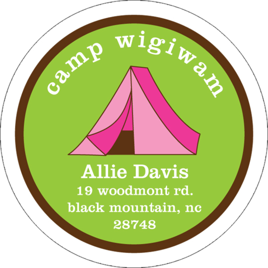 Pink Tent Round Address Labels