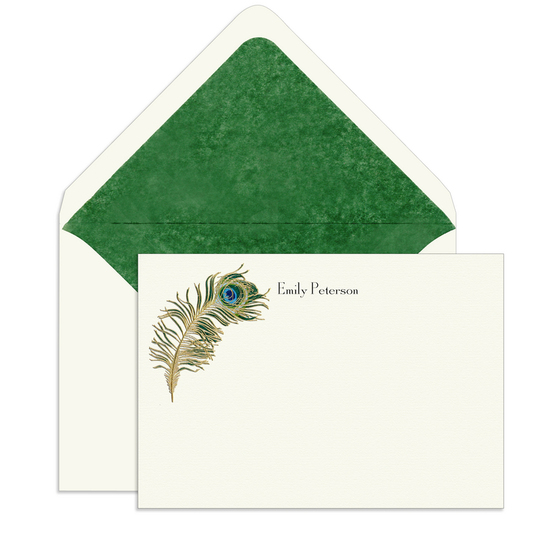 Peacock Feather Engraved Motif Flat Note Cards