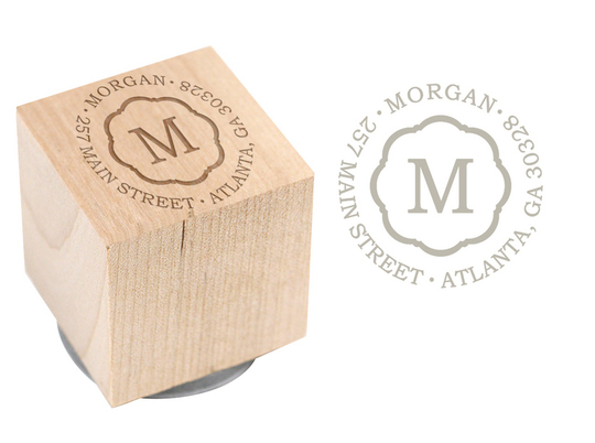 Center Initial Wood Block Rubber Stamp