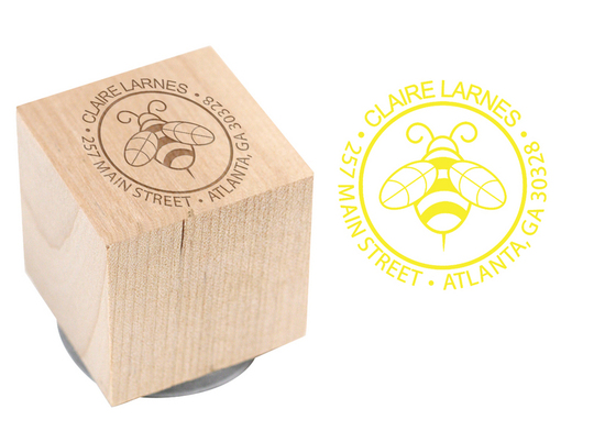 Bumble Bee Wood Block Rubber Stamp