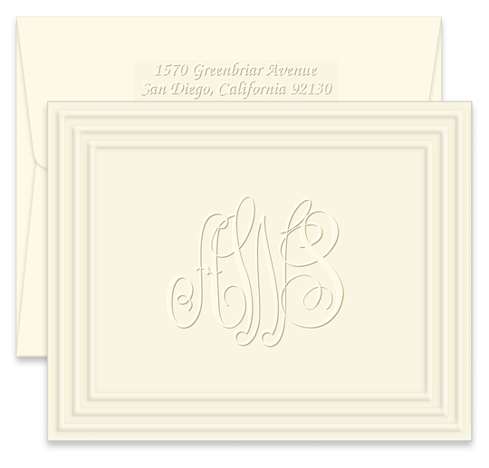 Embossed Classic Frame Monogram Folded Note Cards