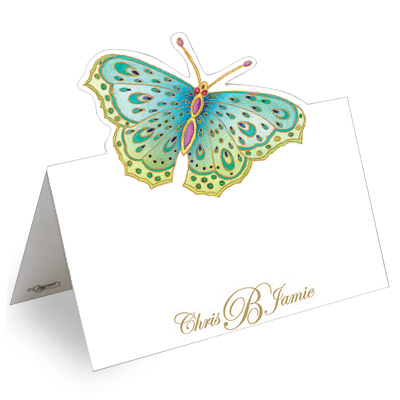 Jeweled Butterfly Die Cut Personalized Place Cards