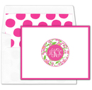Pink and Green Floral Monogram Foldover Note Cards