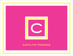 Framed Hot Pink and Yellow Initial Foldover Note Cards