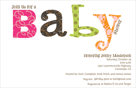 Pink Colorful Wordplay Baby Shower Invitations