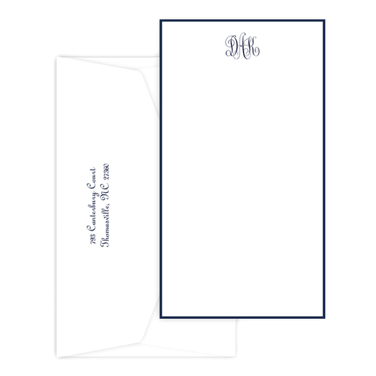 Triple Thick Classic Monogram Border Tall Flat Note Cards
