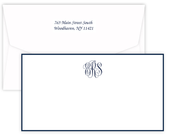 Triple Thick Classic Monogram Border Wide Flat Note Cards