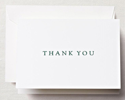 Letterpress Hunter Green Boxed Thank You Note Cards