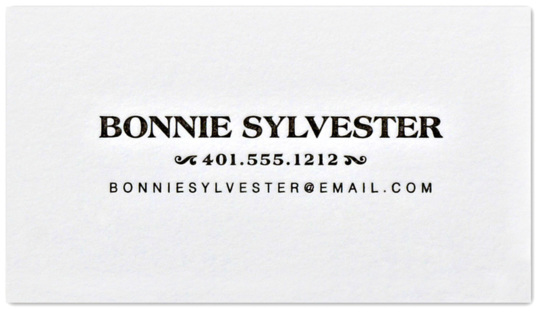 Pearl White Letterpress Contact Cards with Leaf Design