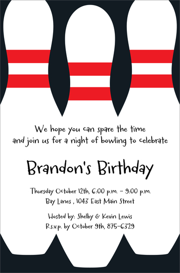 Bowling Pins Invitations
