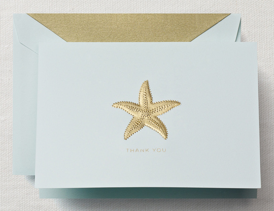 Hand Engraved Starfish Thank You Folded Note Card Boxed Set