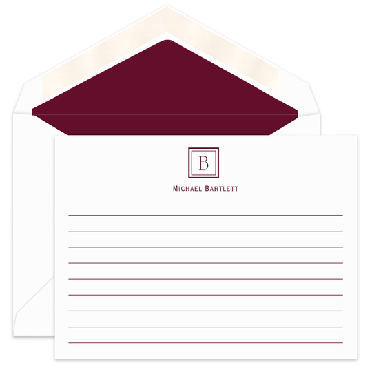 Initial Square Flat Note Cards with Writing Lines