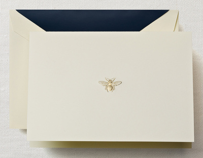 Hand Engraved Bee  Note Boxed Note Cards