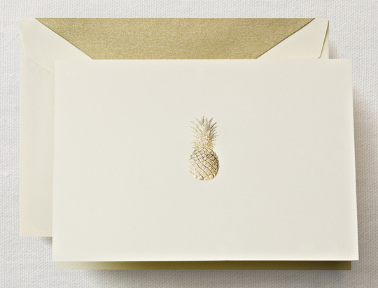 Hand Engraved Pineapple Boxed Folded Note Cards