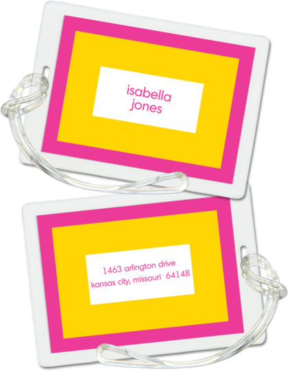 Hot Pink and Sunshine Bold Bands Luggage Tags