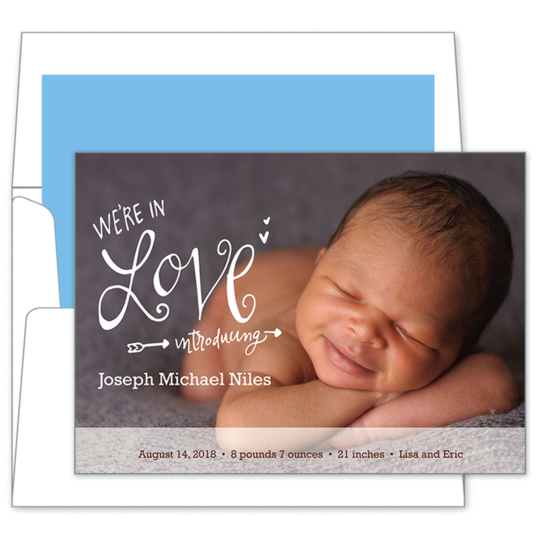 We're in Love Photo Baby Announcements