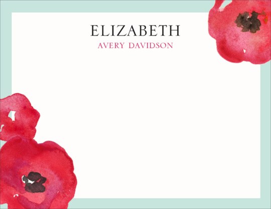 Painted Poppies Flat Note Cards