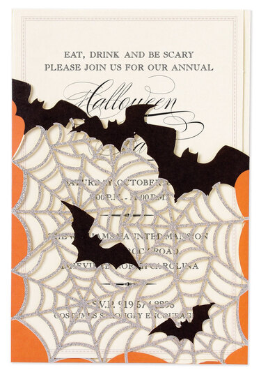 Bats and Spider Web Glittered Die-cut Pocket Invitations