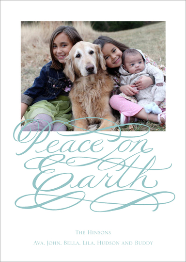 Peace on Earth Script Flat Photo Cards