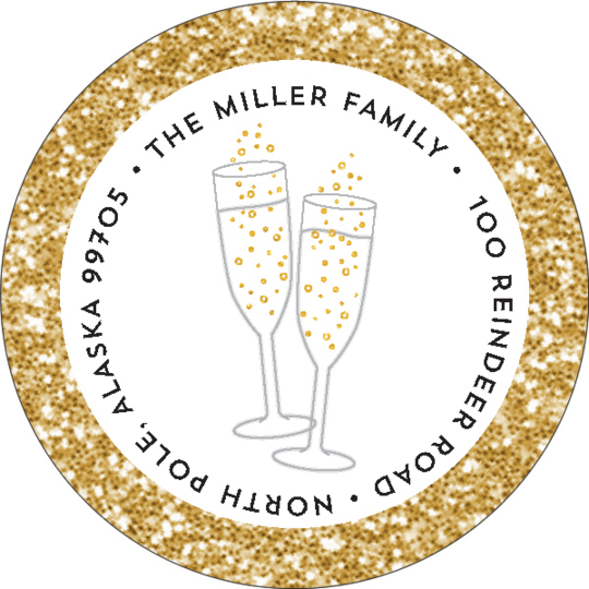 Shimmering Champagne Round Address Labels