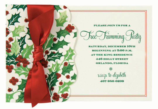 Holly and Berries Die-cut Side Pocket  Invitations