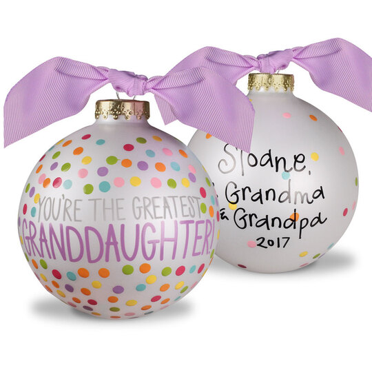 You're The Greatest Granddaughter Glass Christmas Ornament