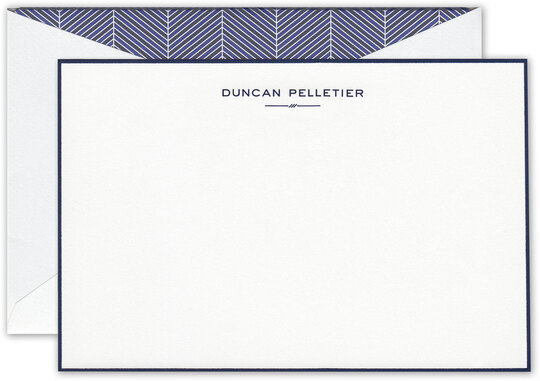 Palermo Engraved Fluorescent White Bordered Flat Correspondence Cards