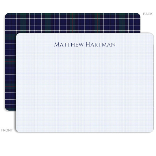Personalized Blue Plaid Flat Stationery