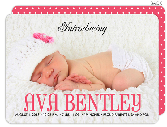 Pink and Bold Photo Birth Announcements