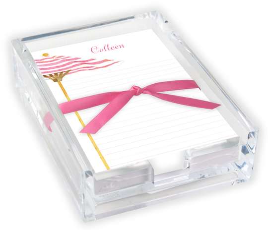 Pink Umbrella Memo Sheets with Acrylic Holder