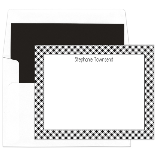 Black Gingham Border Flat Note Cards