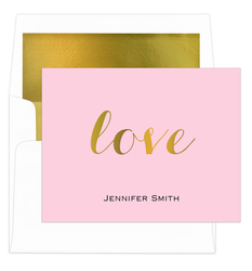 Love Foldover Foil<br> Stamped Note Cards<br> with Lined Envelopes