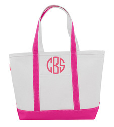 Personalized Large Pink Trimmed Boat Tote
