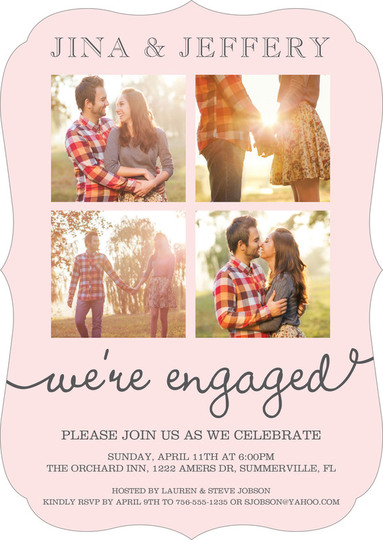 Blush Our Love Story Engagement Invitations