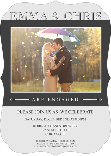 Grey Simply Stunning Engagement Invitations