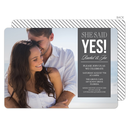 Grey This Is It Engagement Invitations