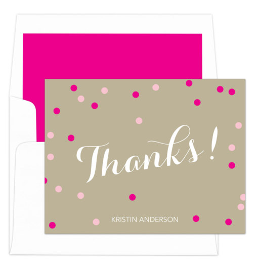 Hot Pink Confetti Thank You Folded Note Cards