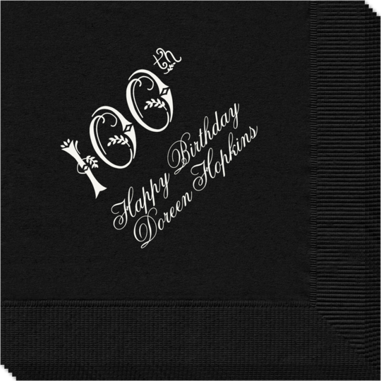 Elegant 100th Scroll Napkins