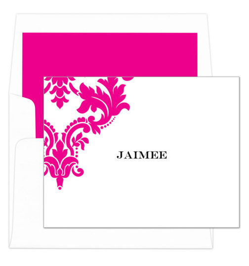 Hot Pink Damask Scroll Foldover Note Cards
