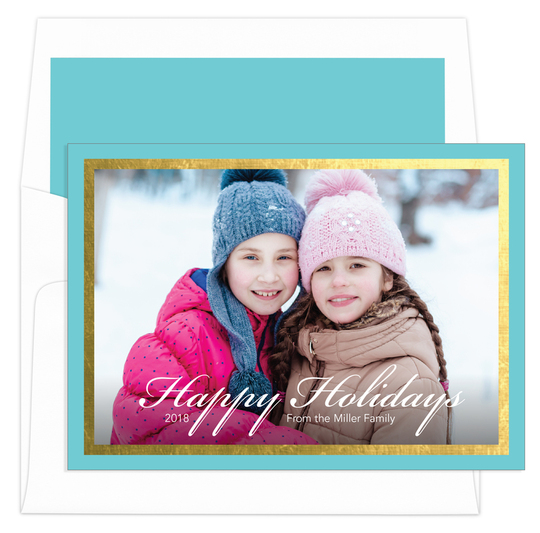 Aqua and Gold Foil Border Holiday Photo Cards