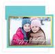 Aqua and Gold Foil Border Holiday Photo Cards Image 1 of 3