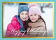 Aqua and Gold Foil Border Holiday Photo Cards Image 3 of 3