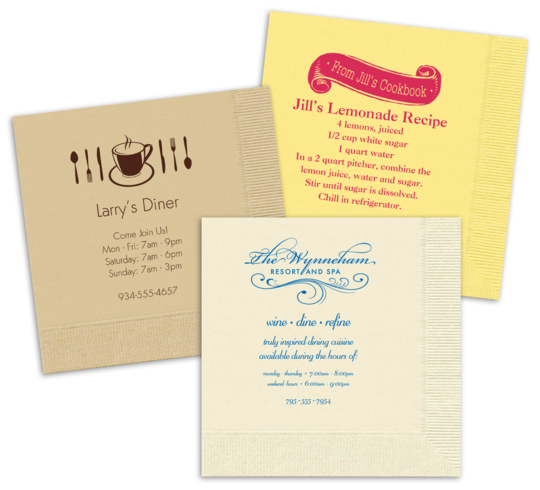 Custom Napkins with Your 1-Color Artwork with Text we will Typeset