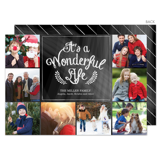 Chalkboard It's A Wonderful Life Photo Cards