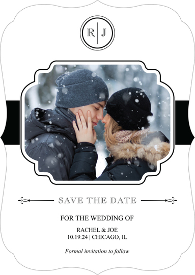 White and Black Initial Connection Photo Save the Date Cards