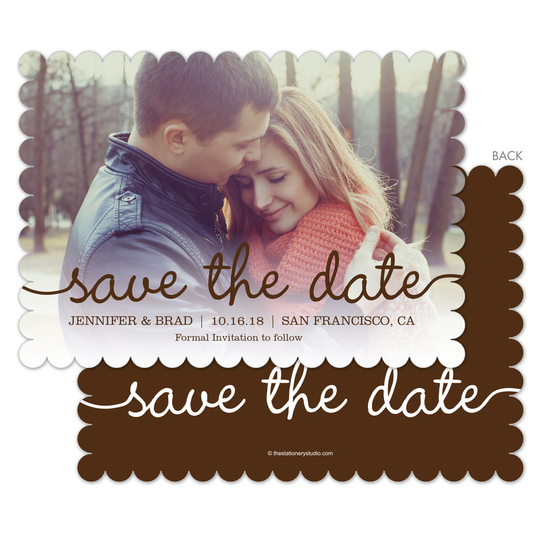 Brown Marker Photo Save the Date Cards