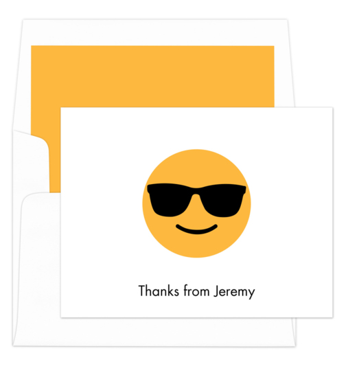White Cool Emoji Folded Note Cards